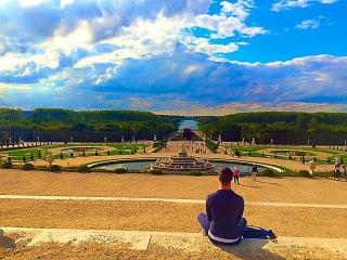 Looking out on the gardens in Versailles